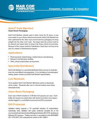 Mar Cor Actril Cold Sterilant Clean Room Packaging